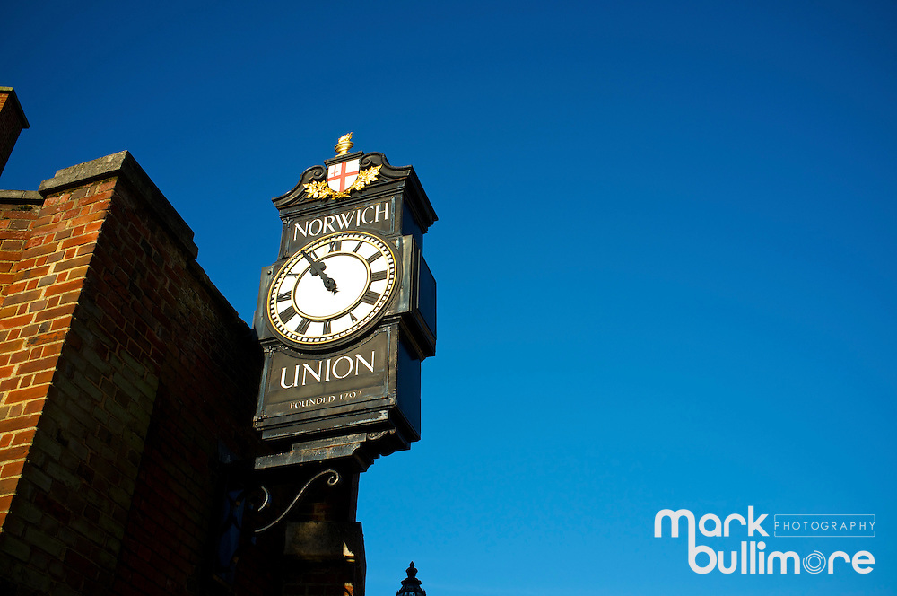 Old Norich Union Clock in Surry Street, Norwich