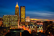 Atlanta skyline, facing south at dusk.