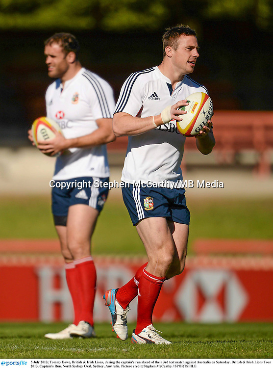 5 July 2013; Tommy Bowe, British & Irish Lions, during the captain's run ahead of their 3rd test match against Australia on Saturday. British & Irish Lions Tour 2013, Captain's Run. North Sydney Oval, Sydney, Australia. Picture credit: Stephen McCarthy / SPORTSFILE