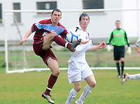 Daragh Duggan Galway United and Alan O'Flynn, Cobh Ramblers in  Cappa Park in Knocknacarra, Galway. Photo:Andrew Downes.