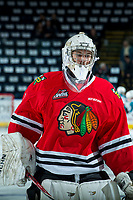 KELOWNA, CANADA - APRIL 8: Shane Farkas #1 of the Portland Winterhawks skates during warm up against the Kelowna Rockets on April 8, 2017 at Prospera Place in Kelowna, British Columbia, Canada.  (Photo by Marissa Baecker/Shoot the Breeze)  *** Local Caption ***