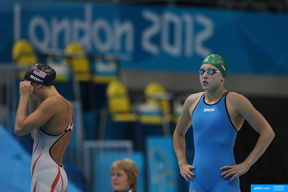Fifteen year old Ruta Meilutyte, Lithuania, winning the gold medal in the Women's 100m Breaststroke Final at the Aquatic Centre at Olympic Park, Stratford during the London 2012 Olympic games. London, UK. 30th July 2012. Photo Tim Clayton