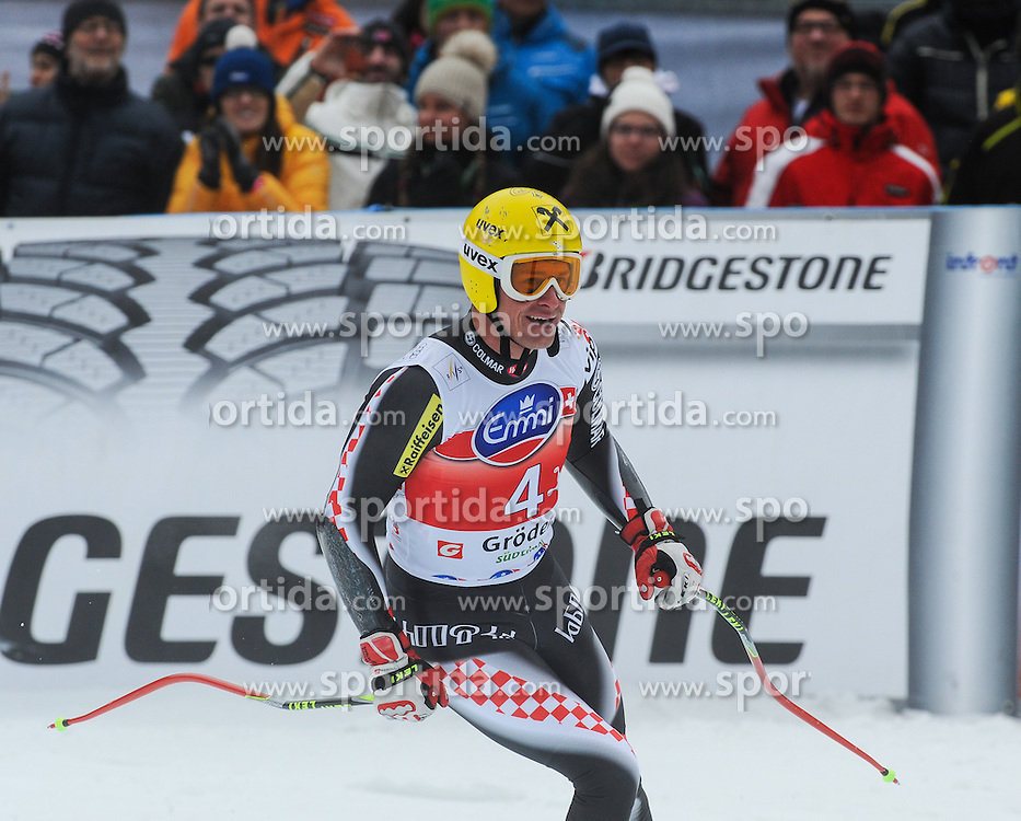 20.12.2013, Saslong, Groeden, ITA, FIS Ski Weltcup, Groeden, Herren, SuperG, im Bild Ivica Kostelic (CRO) // Ivica Kostelic of Croatia reacts at the finish area during mens Super-G of the Groeden FIS Ski Alpine World Cup at the Saslong Course in Gardena, Italy on 2012/12/20. EXPA Pictures © 2013, PhotoCredit: EXPA/ Johann Groder