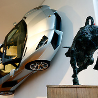 Lamborghini Aventador Roadster at the Lamborghini Museum in Sant'Agata Bolognese, Italy, May 2014