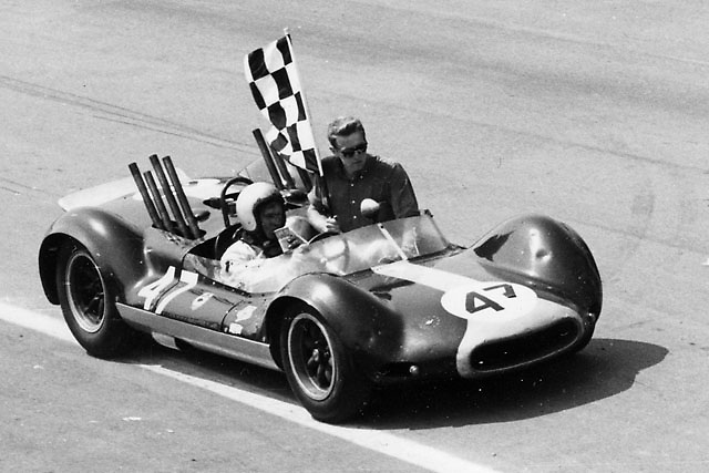 "Bruce takes crew chief Tyler Alexander for a victory lap after scoring the inaugural win for McLaren's Cooper-Oldsmobile, formerly Roger Penske's ex-F1 Cooper-Climax ""Zerex Special"""
