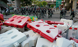 Tuen Mun, Hong Kong. 22 September 2019. Pro democracy demonstration and march through Tuen Mun in Hong Kong. Marchers protesting against harassment by sections of the pro Beijing community. Largely peaceful march had several violent incidents with police using teargas. Several arrests were made. Pictured;  Barricade on street.  Iain Masterton Live News.