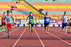 From left to right Michal Kotkowski, POL, Paul Keogan, IRE, Vladyslav Zahrebelnyi, UKR, Rhys Jones, GBR competing in the T37, 200m at the Berlin 2018 World Para Athletics European Championships