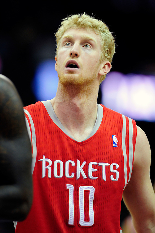 Feb. 23, 2011; Cleveland, OH, USA; Houston Rockets small forward Chase Budinger (10) watches a free throw during the first quarter against the Cleveland Cavaliers at Quicken Loans Arena. Mandatory Credit: Jason Miller-US PRESSWIRE