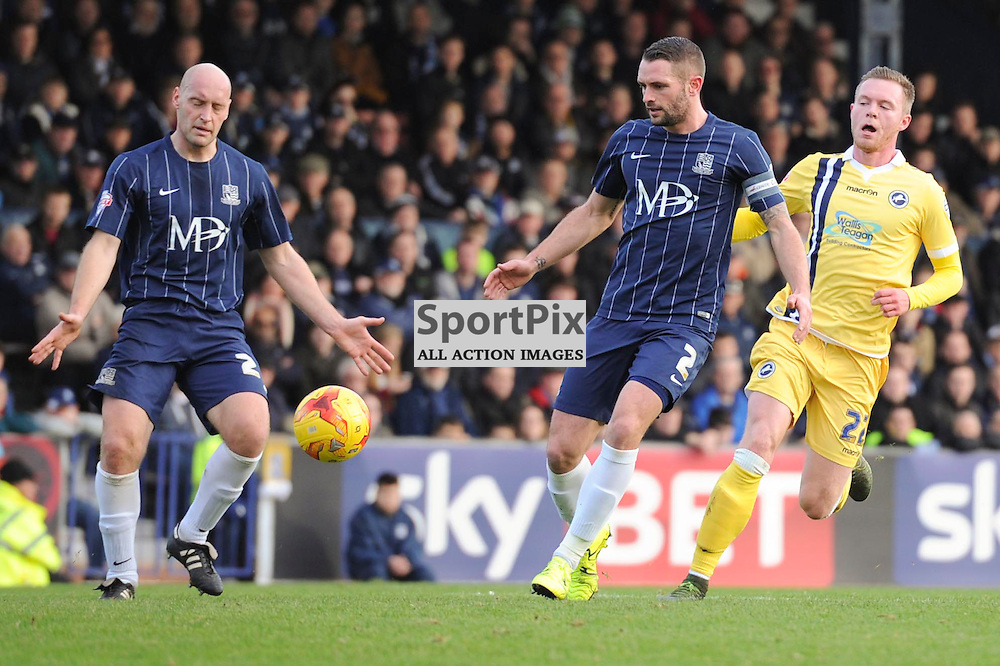 Southends Adam Barrett (L), John White (C) and Millwalls Aiden O'Brien (R) in action during the Southend v Millwall game in the Sky Bet League 1 on the 28th December 2015.