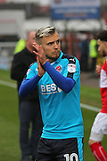 Fleetwood David Ball (10) thanks the travel fans before the EFL Sky Bet League 1 match between Swindon Town and Fleetwood Town at the County Ground, Swindon, England on 17 December 2016. Photo by Gary Learmonth.