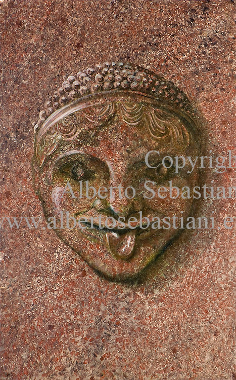 gorgon on granite texture painted in hyper realistic style with oil colors on paper