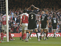 Fotball<br /> England 2004/2005<br /> Foto: SBI/Digitalsport<br /> NORWAY ONLY<br /> <br /> Date: 21/05/2005.<br /> Arsenal v Manchester United FA Cup Final.<br /> <br /> Rio Ferdinand can't believe another near miss.