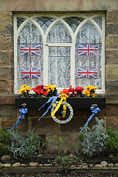© Licensed to London News Pictures. 29/04/2016. Pateley Bridge, UK. Residents in the North Yorkshire village of Ripley have decorated their homes along the route of the 2016 Tour De Yorkshire. The three-day road cycling race held annually across Yorkshire is in it's second year. Photo credit : Ian Hinchliffe/LNP