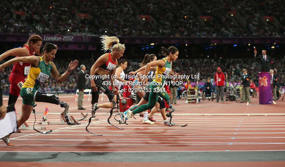 05 September 2012 Paralympic Games . Athletics.<br /> Start of womens 100 metres T42 race.<br /> Photo: Mark Leech.