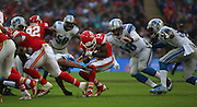Kansas City Chiefs De'Anthony Thomas preparing for the impending hit during the Kansas City Chiefs v Detroit Lions  NFL International Series match at Wembley Stadium, London, England on 1 November 2015. Photo by Matthew Redman.