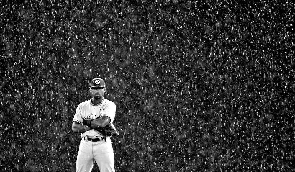 USC's Jackie Bradley Jr. waits for the first pitch after a rain delay during Sunday's game between South Carolina and Oklahoma at the 2010 College World Series inside Rosenblatt Stadium. The Gamecocks would go on to lose the game, putting them in the elimination bracket. Omaha, NE 6/20/10