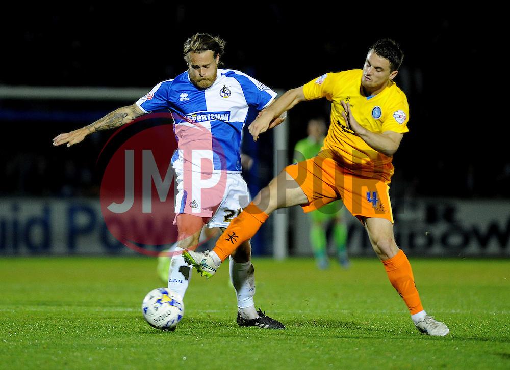 Stuart Sinclair of Bristol Rovers is challenged by Stephen McGinn of Wycombe Wanderers - Mandatory byline: Neil Brookman/JMP - 07966 386802 - 06/10/2015 - FOOTBALL - Memorial Stadium - Bristol, England - Bristol Rovers v Wycombe Wanderers - JPT Trophy