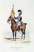 Standard Bearer of the King's guard with the regimental colours, 1820. From 'Histoire de la maison militaire du Roi de 1814 a 1830' by Eugene Titeux, Paris, 1890.