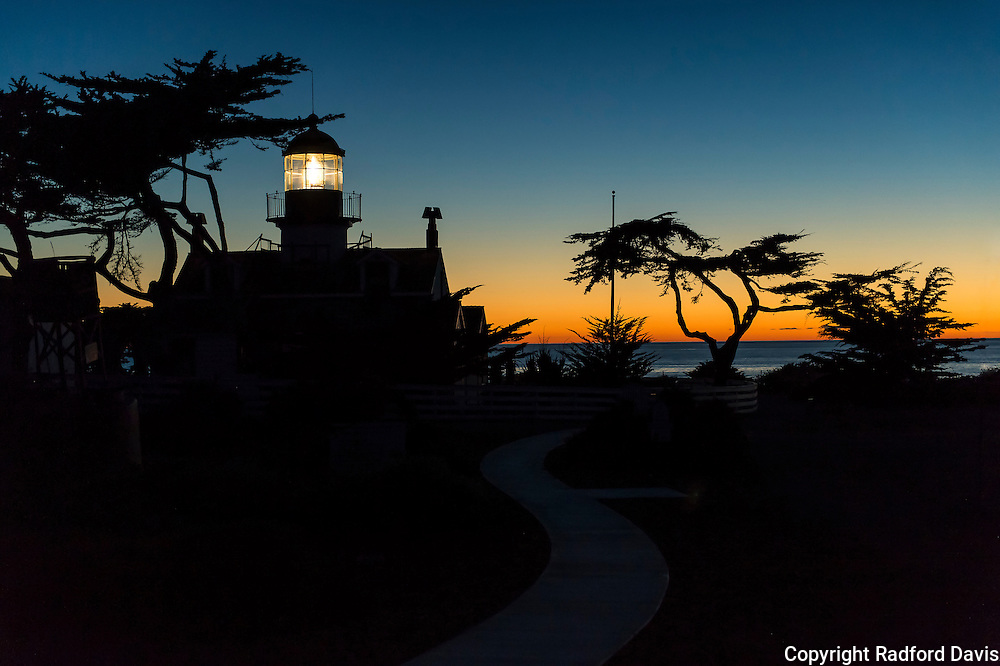 Point Pinos Lighthouse at sunset. Monterey, California