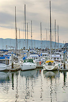 Yachts and sailboats moored at Squalicom Marina on Bellingham Bay, Bellingham Washington USA