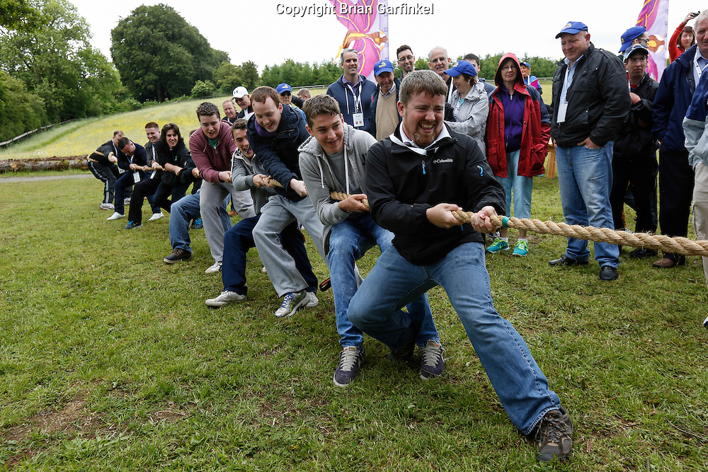Joe Caulfield during the Tug of War at the Caulfield/Mulryan family reunion at Ardenode Stud, County Kildare, Ireland on Sunday, June 23rd 2013. (Photo by Brian Garfinkel)
