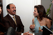 SHEIKH AL SABAH WITH HIS DAUGHTER  SHEIKA LULU AL SABAH, EXHIBITION ORGANISED BY JAMM.- Neither Here Nor There- Reflections on Cultural Hybridity and the Third Space. Belgrave Sq. London. 7 October 2010. -DO NOT ARCHIVE-© Copyright Photograph by Dafydd Jones. 248 Clapham Rd. London SW9 0PZ. Tel 0207 820 0771. www.dafjones.com.