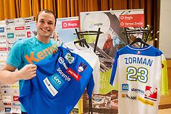 Uros Zorman with New jersey at press conference of Slovenian Handball Men National Team, on January 13, 2011, in Zrece, Slovenia. (Photo by Vid Ponikvar / Sportida)