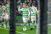 Leigh Griffiths (#9) of Celtic FC celebrates after scoring the only goal during the UEFA Europa League group stage match between Celtic FC and Rosenborg BK at Celtic Park, Glasgow, Scotland on 20 September 2018.