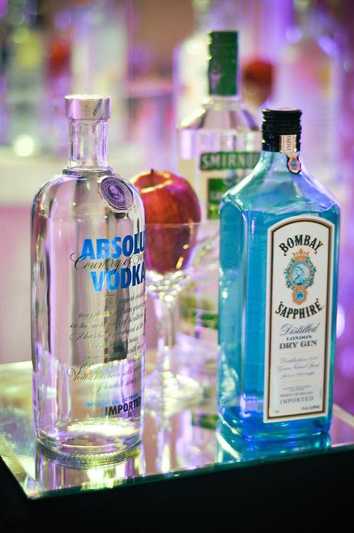 Liquor displayed on the bar at Tara & Randy's wedding reception, The Carlisle, Lombard, IL