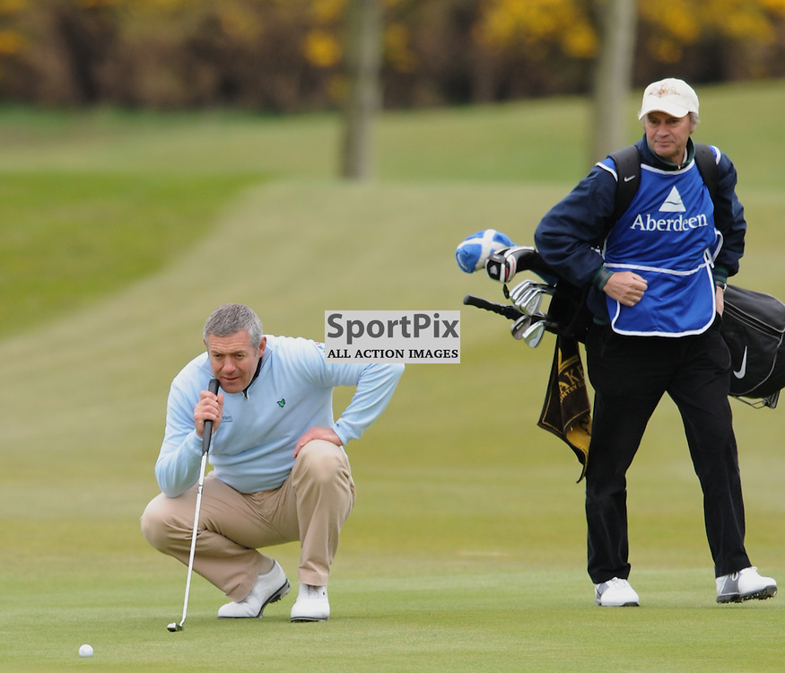 Gavin Hastings lines up his putt to the 9th green at the Aberdeen Asset Management Ladies Scottish Open at Archerfield Links Edinburgh 3-5th May 2012 (Lorraine Hill | STOCKPIX)