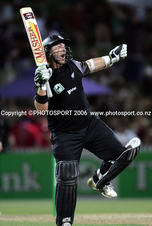 New Zealand batsman Craig McMillan celebrates his century during the 3rd Chappell Hadlee one day match at Seddon Park, Hamilton, New Zealand on Tuesday 20 February 2007. Photo: Andrew Cornaga/PHOTOSPORT<br /><br /><br />200207