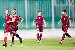 Players of Triglav celebrate scoring a goal during football match between NK Triglav Kranj vs NK Maribor in 13th Round of Prva liga NZS 2012/13, on October 7, 2012 in Sportni park, Kranj, Slovenia. (Photo by Matic Klansek Velej / Sportida.com)