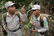 Rangers use GPS equipment to work out their location in the forest. The forest rangers are employed by the Ministry of Environment but sponsored by Flora and Fauna International who pays them 75% of their salary and provides training and accommodation. They undertake regular patrols in to the Samkos Wildlife Sancturary which is part of the Cardamom Mountains Nature Reserve looking for illegal activites such as logging, poaching, land encroachment and the production of the illegal substance sassafras oil. The Cardamom Mountains and surrounding forests is the largest and most pristine area of intact forest in SE Asia. Covering an area of 2.5 million acres it became one of the last strong holds of a retreating Khmer Rouge. Their presence helped preserve the forest as no-one dared to venture inside. But with the Khmer Rouge gone, it faces new dangers from poachers, loggers and illegal drug factories. In charge of protecting this vast forest are a handful of rangers who's job it is to track down and arrest those who are helping to destroy this delicate habitat.