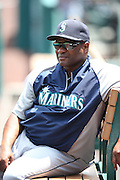 ANAHEIM, CA - JULY 20:  Manager Lloyd McClendon #23 of the Seattle Mariners looks on before the game against the Los Angeles Angels of Anaheim at Angel Stadium on Sunday, July 20, 2014 in Anaheim, California. The Angels won the game 6-5. (Photo by Paul Spinelli/MLB Photos via Getty Images) *** Local Caption *** Lloyd McClendon