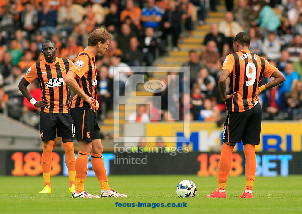 Nikica Jelavic (left) &amp; Abel Hernandez of Hull City wait to restart the game after Manchester City score a goal to make it 0-2 during the Barclays Premier League match at KC Stadium, Hull<br /> Picture by Richard Gould/Focus Images Ltd +44 7855 403186<br /> 27/09/2014