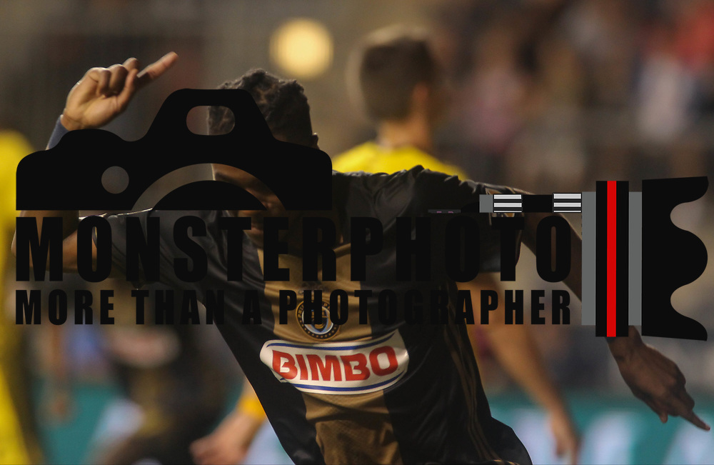 Philadelphia Union Midfielder MARCUS EPPS (20) celebrates a goal in the second half of a Major League Soccer match between the Philadelphia Union and Columbus Crew SC Wednesday, July. 26, 2017, at Talen Energy Stadium in Chester, PA.