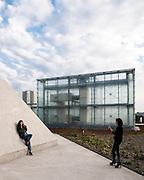 Perspective of glass cube and new walkways. Silesian Museum, Katowice, Poland. Architect: Riegler Riewe Architekten , 2014.