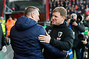 Aston Villa manager Dean Smith and AFC Bournemouth manager Eddie Howe hug ahead of kick off during the Premier League match between Bournemouth and Aston Villa at the Vitality Stadium, Bournemouth, England on 1 February 2020.