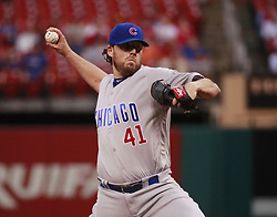 September 27, 2017 - St. Louis, MO, USA - Chicago Cubs starting pitcher John Lackey works against the St. Louis Cardinals during the first inning at Busch Stadium in St. Louis on Wednesday, Sept., 27, 2017. (Credit Image: © Nuccio Dinuzzo/TNS via ZUMA Wire)