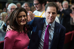 © Licensed to London News Pictures . 15/03/2015 . Liverpool , UK . Nick Clegg and his wife Mirian Gonzalez Durantez leave the conference after Nick Clegg's speech . The Liberal Democrat Party Conference at the Arena and Conference Centre in Liverpool . Photo credit : Joel Goodman/LNP
