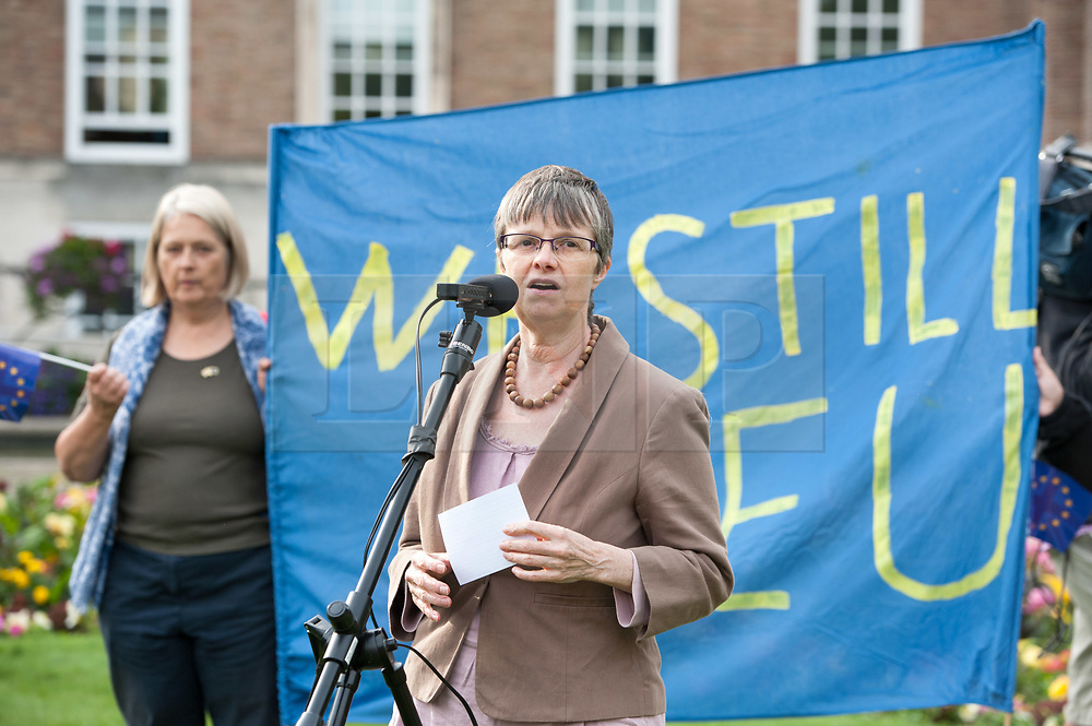 "© Licensed to London News Pictures. 20/02/2019. Bristol, UK. File picture dated 14/07/2016 of MOLLY SCOTT CATO, Green MEP for South West England who is one of 3 Green Party MEPs arrested today in Brussels among a group which also includes Belgian peace activists who scaled the wall of an airbase that stockpiles US weapons and blocked the runway which houses F16 bombers in a protest. Molly Scott Cato posted on her Twitter account: ""I have been arrested for breaking into a Belgian military airbase to protest against the stockpiling of American nuclear bombs."" Photo credit: Simon Chapman/LNP"