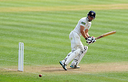 Durham's Scott Borthwick flicks the ball off the bowling of Somerset's Lewis Gregory. - Photo mandatory by-line: Harry Trump/JMP - Mobile: 07966 386802 - 13/04/15 - SPORT - CRICKET - LVCC County Championship - Day 2 - Somerset v Durham - The County Ground, Taunton, England.