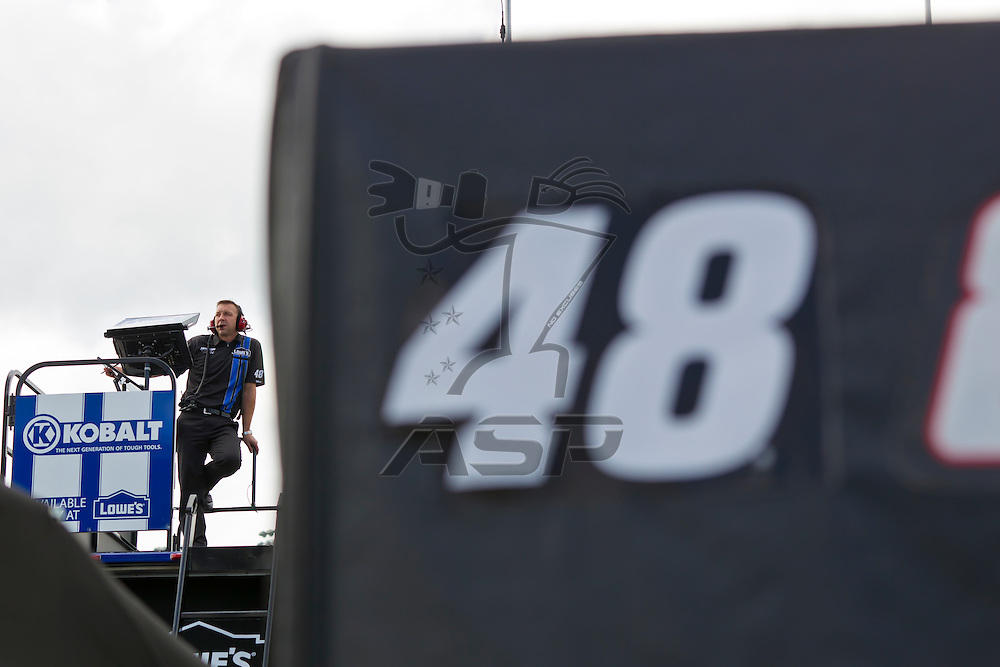 Daytona Beach, FL - Feb 18, 2012:  Lowe's Crew Chief, Chad Knaus, watches a practice session for the Daytona 500 at the Daytona International Speedway in Daytona Beach, FL.