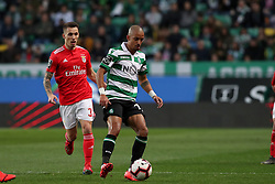 February 3, 2019 - Lisbon, Portugal - Sporting's defender Bruno Gaspar from Portugal (R ) vies with Benfica's Spanish defender Alejandro Grimaldo during the Portuguese League football match Sporting CP vs SL Benfica at Alvalade stadium in Lisbon, Portugal on February 3, 2019. (Credit Image: © Pedro Fiuza/ZUMA Wire)