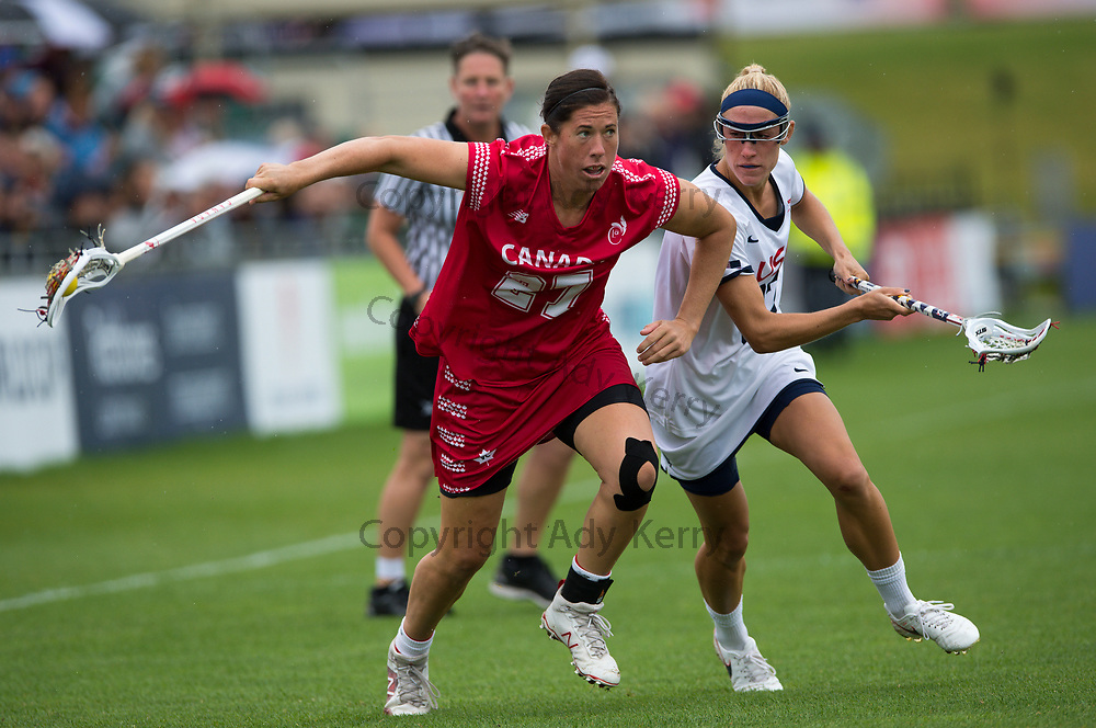 USA's Becky Block challenges with Canada's Dana Dobbie during the World Cup Final at the 2017 FIL Rathbones Women's Lacrosse World Cup, at Surrey Sports Park, Guildford, Surrey, UK, 22nd July 2017.