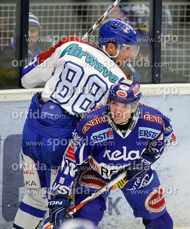 20.12.2011, Stadthalle, Villach, AUT, EBEL, EC Rekord Fenster VSV vs KHL Medvescak Zagreb, im Bild Dario Kostovic (Zagreb) und Benjamin Petrik (VSV) // during the Erste Bank Icehockey League, Stadthalle, Villach, Austria, 2011-12-20, EXPA Pictures © 2011, PhotoCredit: EXPA/ Oskar Hoeher