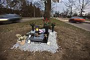 Nederland, Nijmegen, 12-3-2011In de berm van een weg in de stad is een herdenkingssteen gelegd voor een jongeman die hier met te hoge snelheid uit de bocht vloog en tegen een boom reed. Het geheel heeft de uitstraling van een echt graf.Foto: Flip Franssen