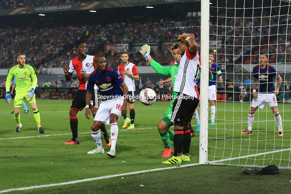 15 September 2016 - UEFA Europa League (Group A) - Feyenoord v Manchester United - Manchester United goalkeeper, David de Gea and Ashley Young look on as the ball comes off Tonny Vilhena of Feyenoord in the last seconds of the match - Photo: Marc Atkins / Offside.