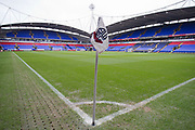 Bolton Wanderers corner flag.The EFL Sky Bet League 1 match between Bolton Wanderers and Wycombe Wanderers at the University of  Bolton Stadium, Bolton, England on 15 February 2020.