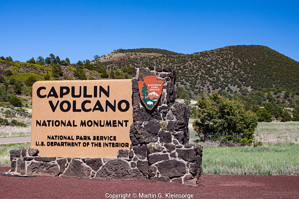 Sign at the entrance to Capulin Volcano National Monument, New Mexico.